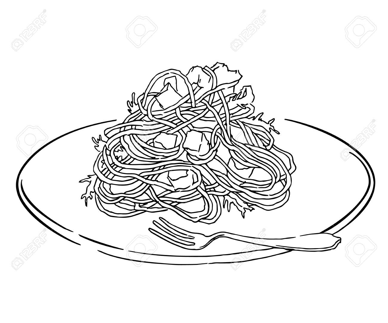 Vector Sketch Of Spaghetti Plate. Italian Food Draw. Isolated ... for Plate With Food Drawing  239wja