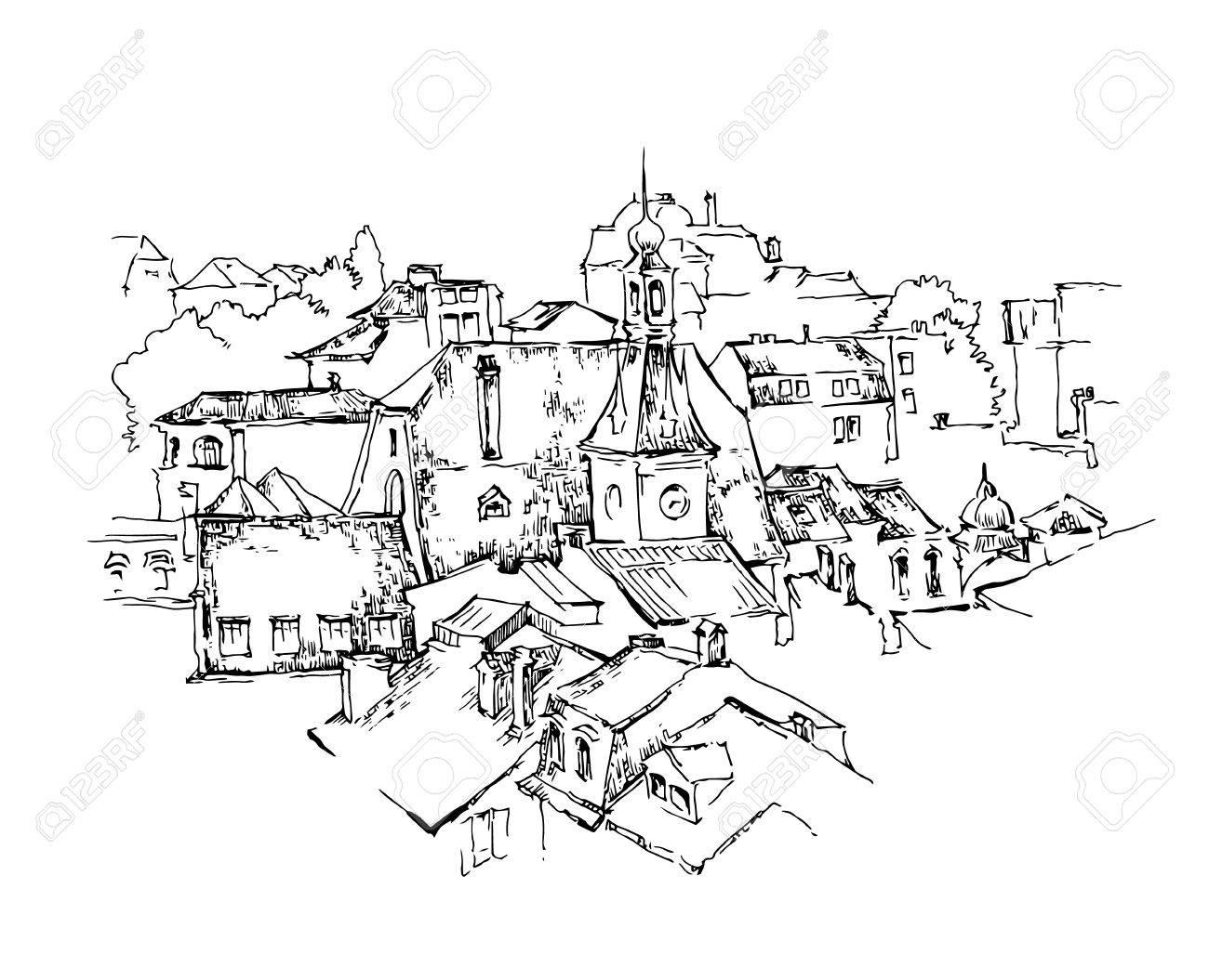 Sketch of old street. Vector illustration made in vintage style. - 45509449