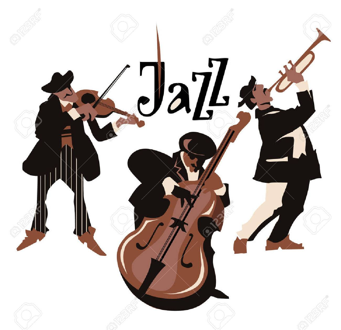 Musicans figures. Use for jazz festival poster, jass club, live music cafe and web design. Isolated flat vectors. Easy editable elements. Isolated on white background. Trumpet, violin, contrabass. - 50178383
