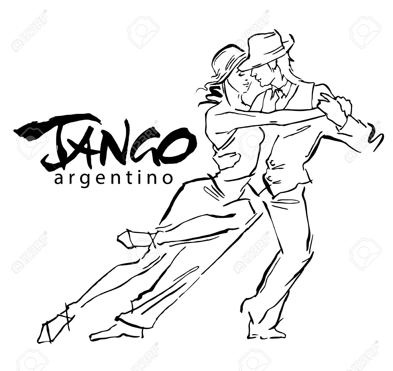 Hand made sketch of tango dancers. Vector illustration. Use for tango studio posters, flayers, web-sites. Tango inscription. - 52004123