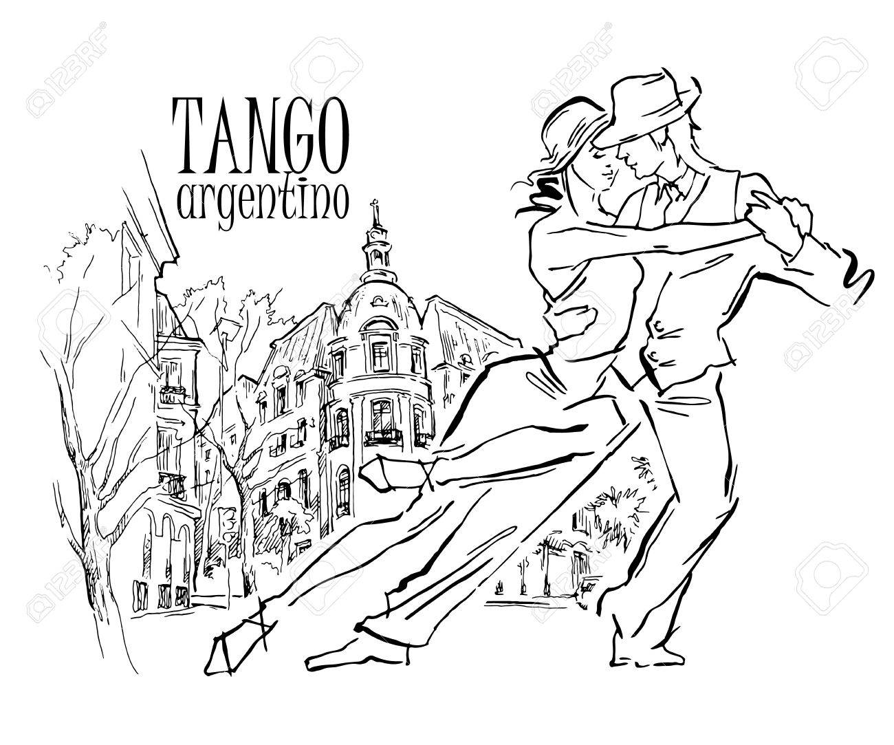 Hand made sketch of tango dancers with city background. Vector illustration. Use for tango studio posters, flayers, web-sites. Tango inscription. - 52004127