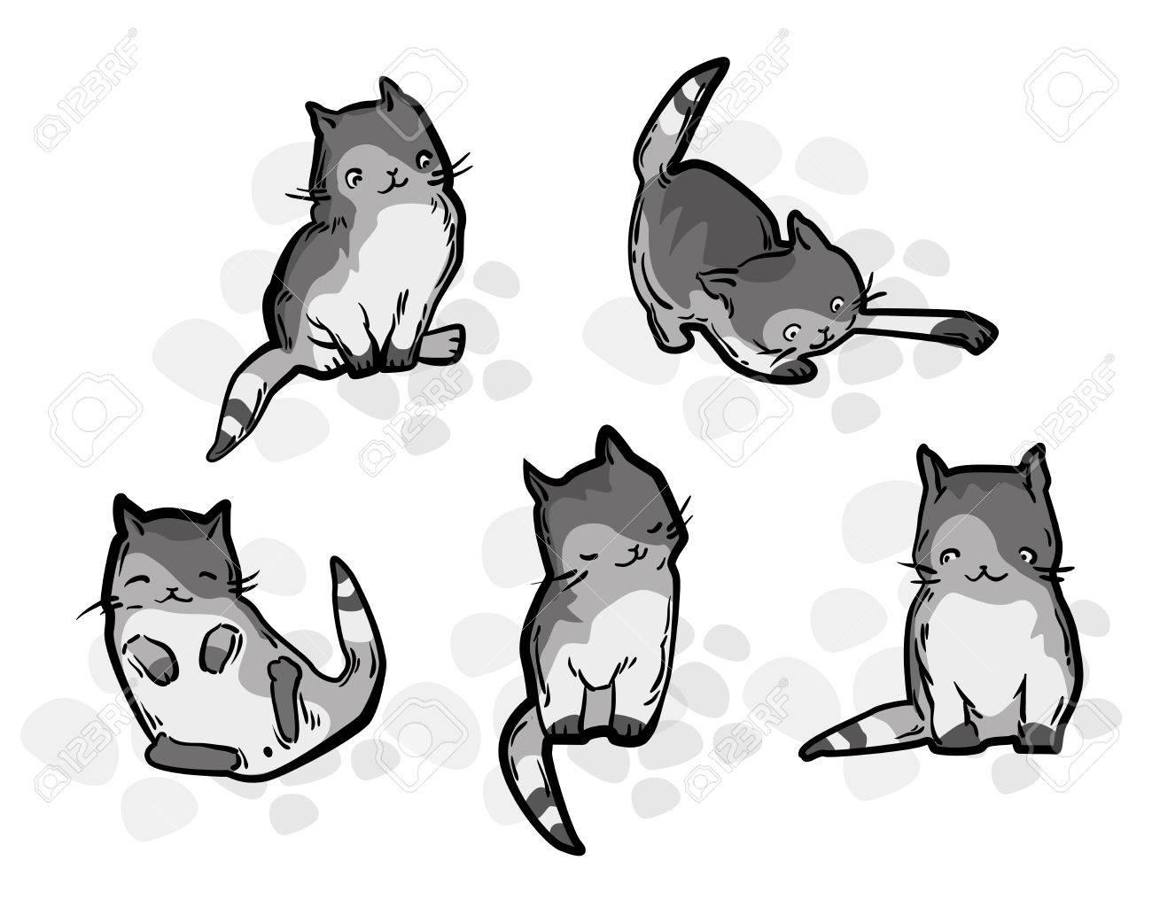 Cute Cat Dans Le Style Drole De Bande Dessinee