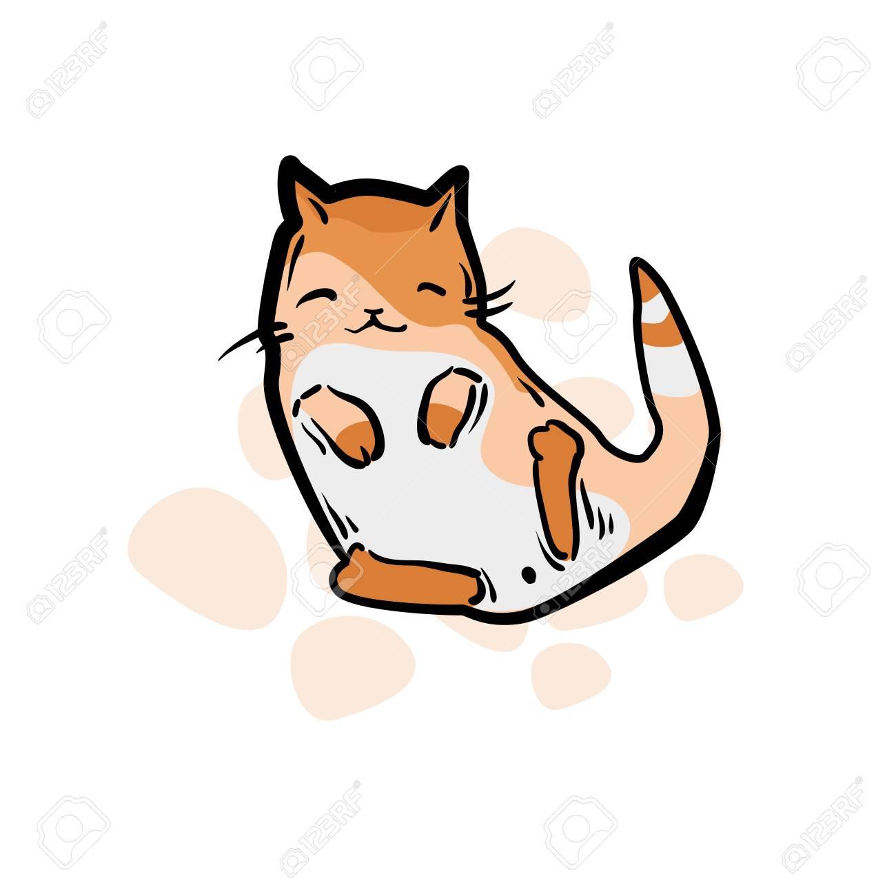 Gato Fofo Em Estilo De Desenho Animado Engracado Ilustracao Do