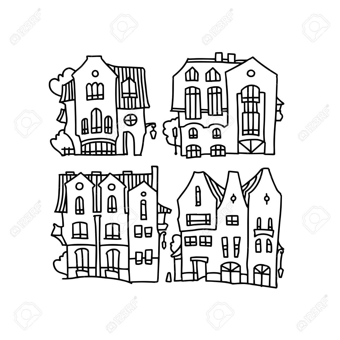 Facade Of Cartoon Houses Funny Vector House Royalty Free Cliparts