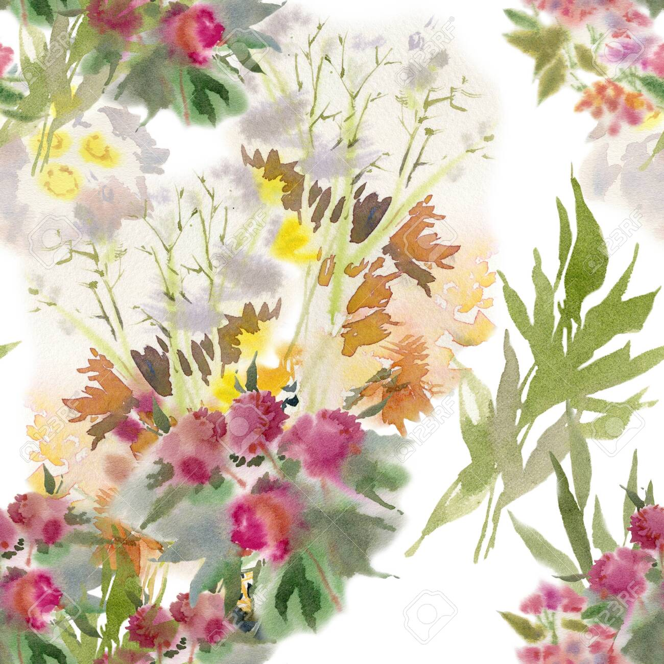 Floral seamless pattern. Hand drawn watercolor field flowers. - 133209640
