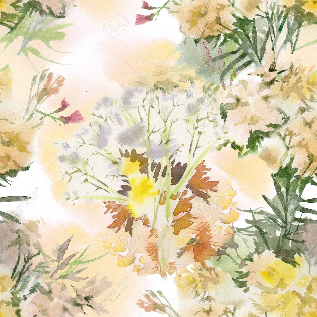 Floral seamless pattern. Hand drawn watercolor field flowers. - 133209646