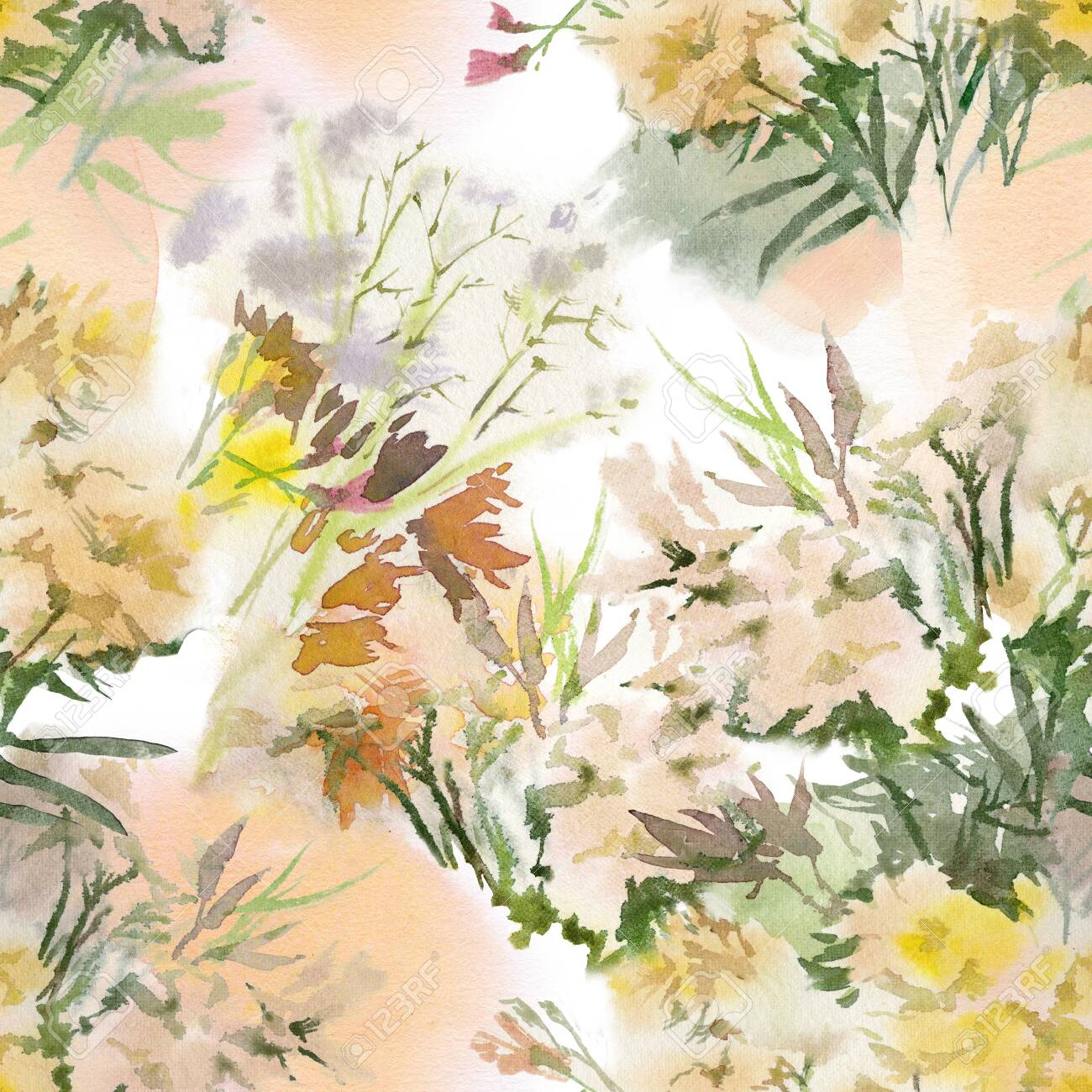 Floral seamless pattern. Hand drawn watercolor field flowers. - 133209653