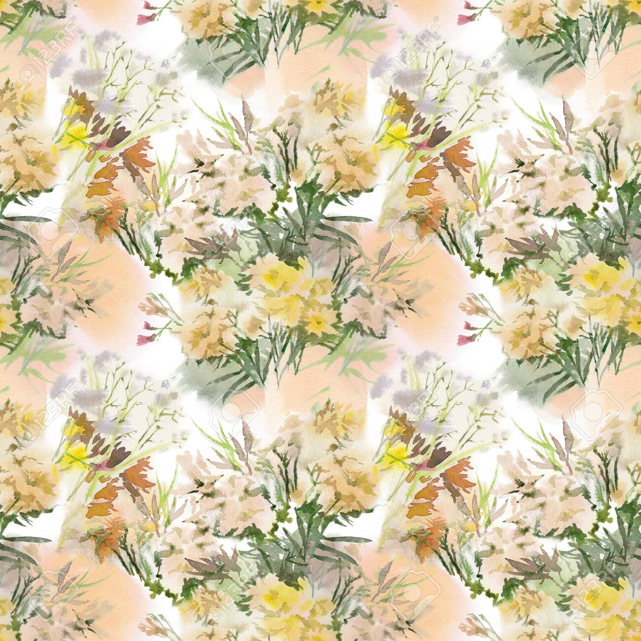 Floral seamless pattern. Hand drawn watercolor field flowers. - 133209657