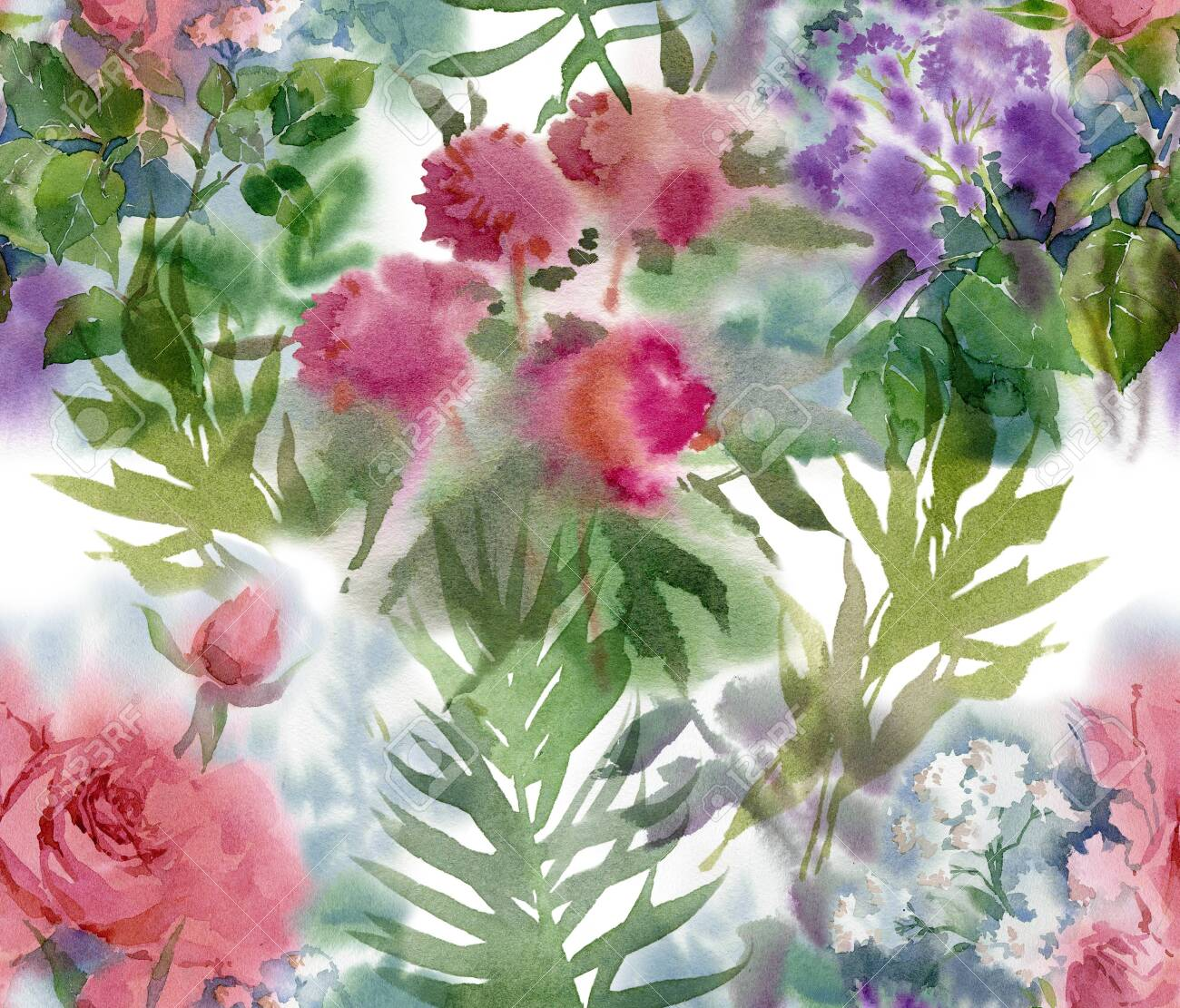 Floral seamless pattern. Hand drawn watercolor field flowers. - 133209654