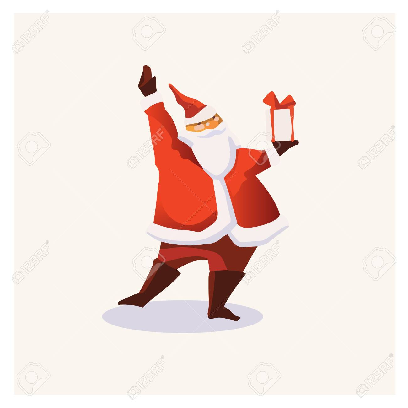 Set of cartoon Christmas illustrations. Funny happy Santa Claus character with gift, bag with presents, waving and greeting. For Christmas cards, banners, tags and labels. - 130910788