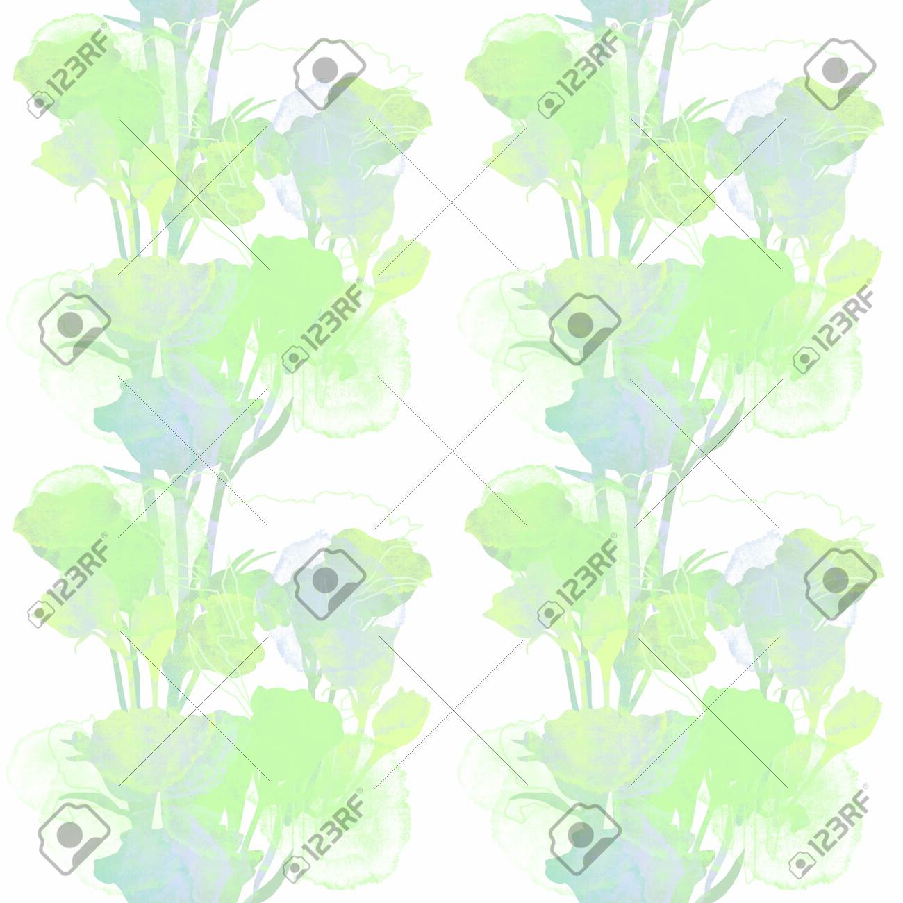 Green and gray floral patten. Roses shiluette. Hand drawn texture illustration. - 132391049