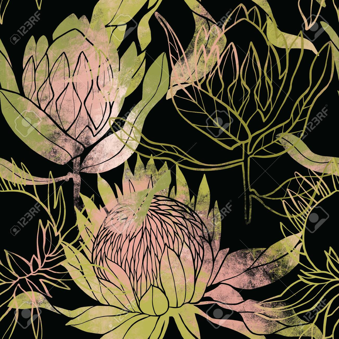 Pink and green flower pattern. Protea flower. Hand drawn illustration. Fullsize raster artwork. - 132391940