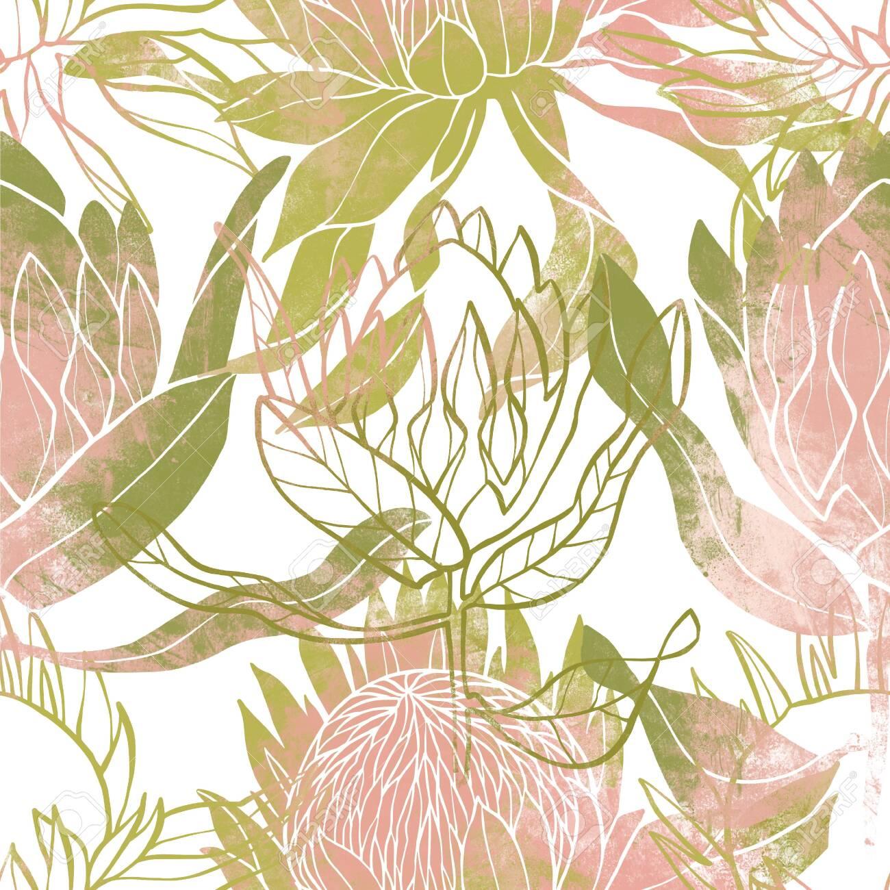 Pink and green flower pattern. Protea flower. Hand drawn illustration. Fullsize raster artwork. - 132391945