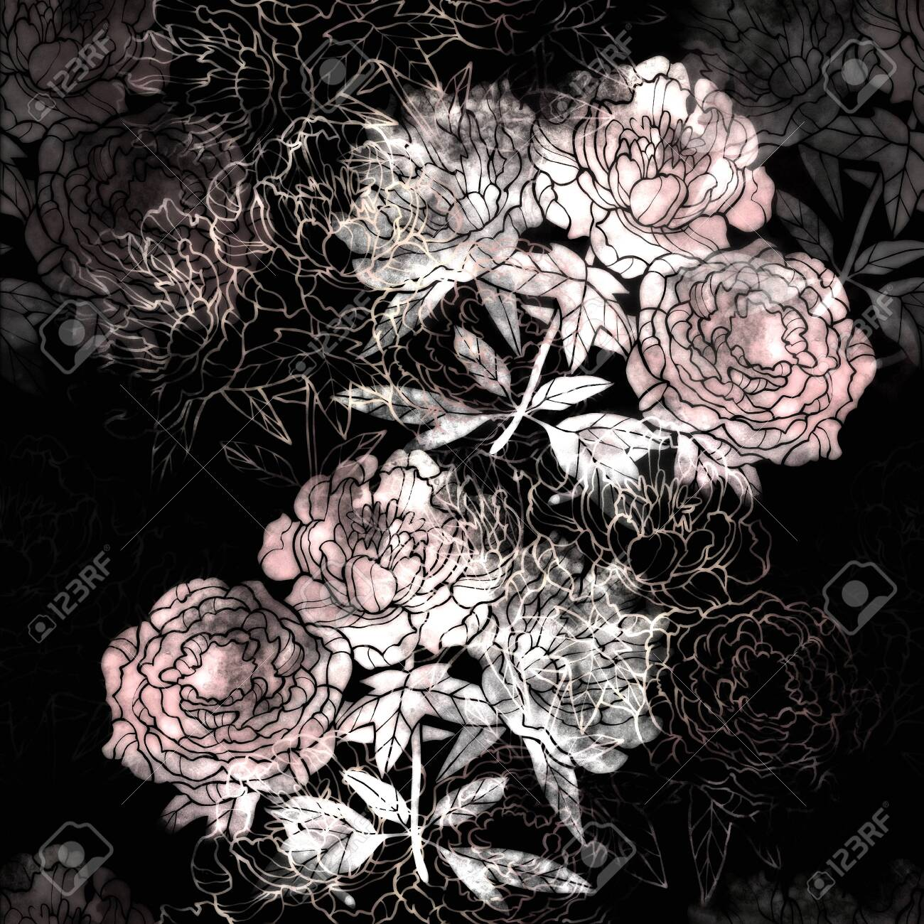 Pink and Red flower raster pattern. Hand drawn illustration on white or black background. - 132391948