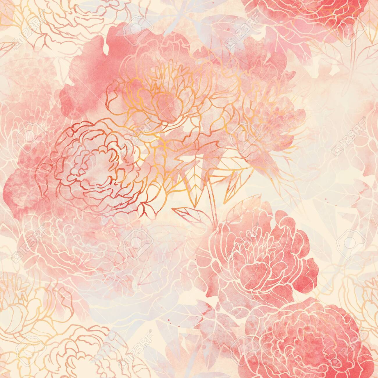 Pink and Red flower raster pattern. Hand drawn illustration on white or black background. - 132391953