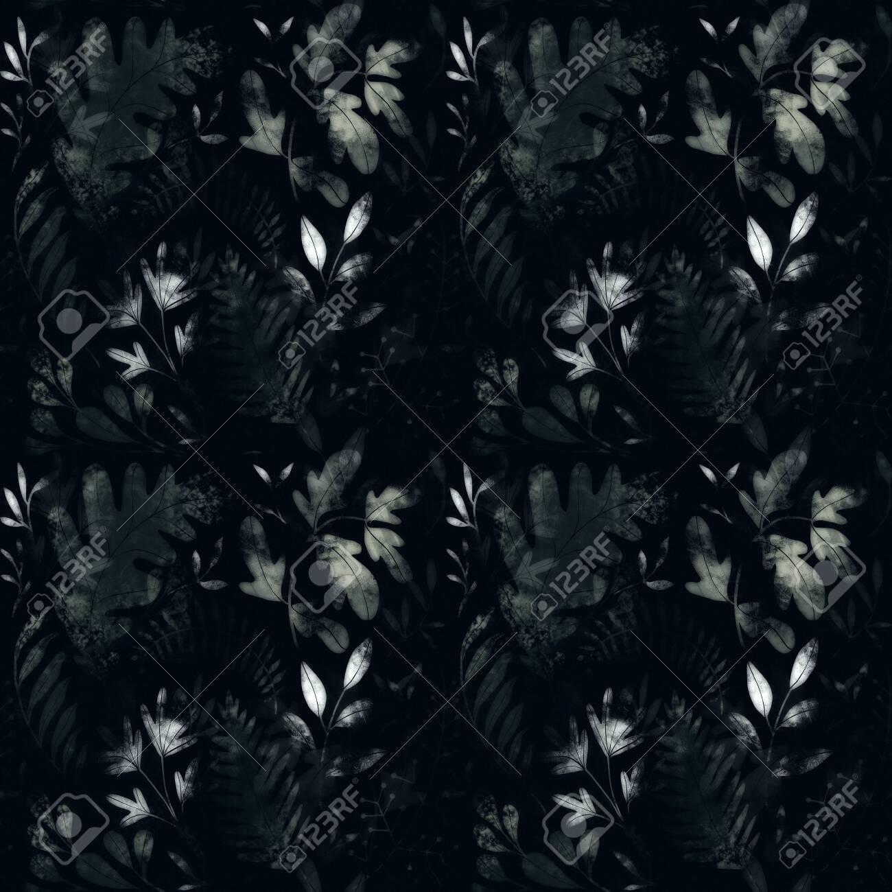 Green plants pattern. Leaves, brunshes and plants. Fullsize raster artwork - 132391868