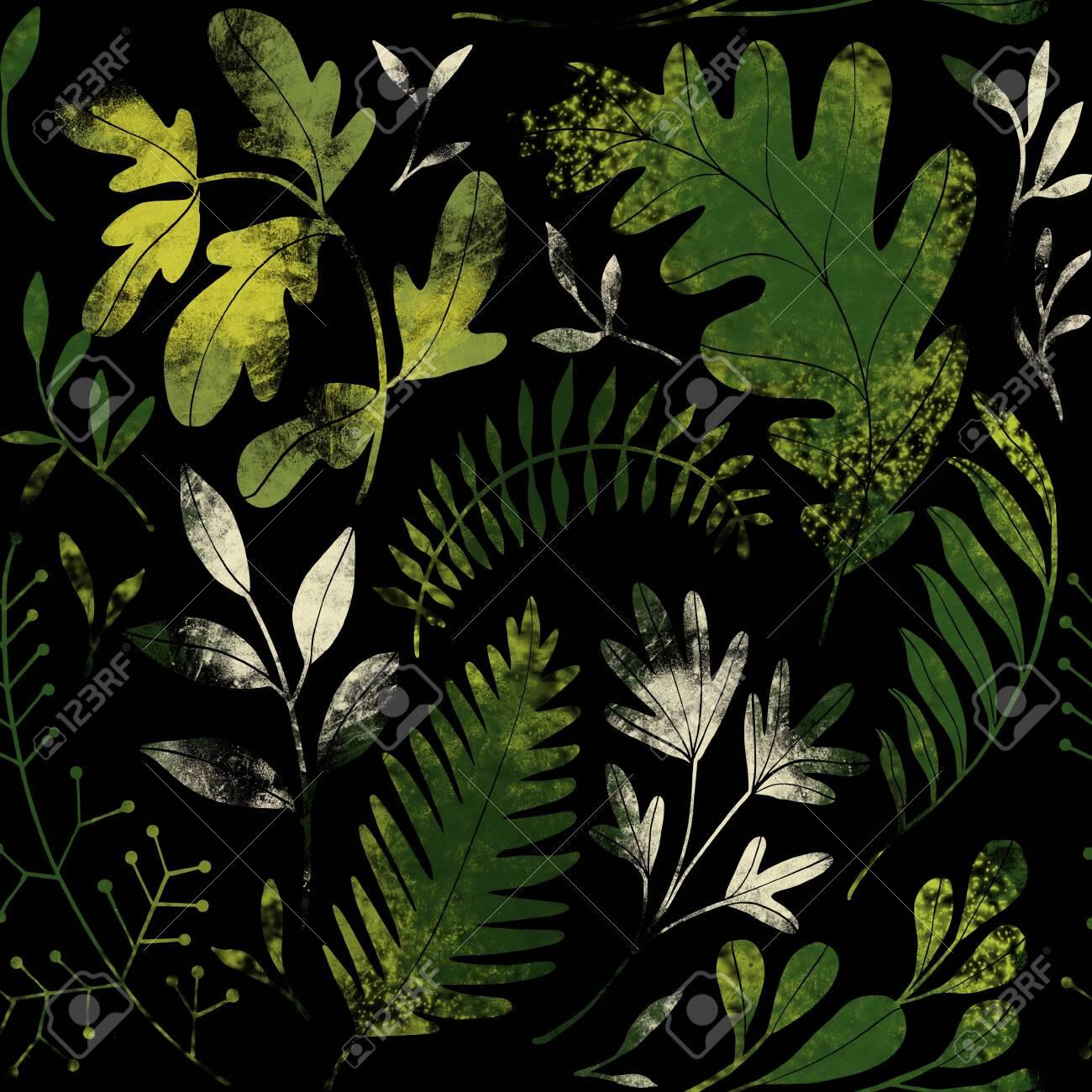 Green plants pattern. Leaves, brunshes and plants. Fullsize raster artwork - 132391882