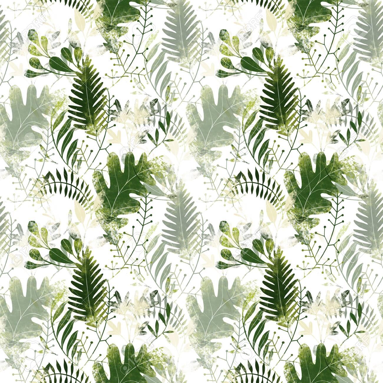 Green plants pattern. Leaves, brunshes and plants. Fullsize raster artwork - 132391880