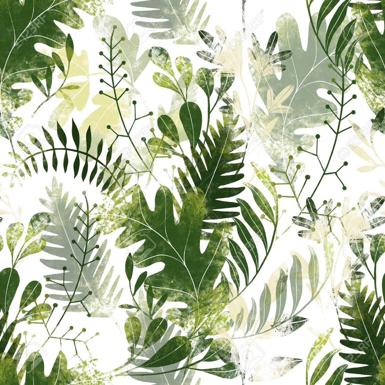 Green plants pattern. Leaves, brunshes and plants. Fullsize raster artwork - 132391893
