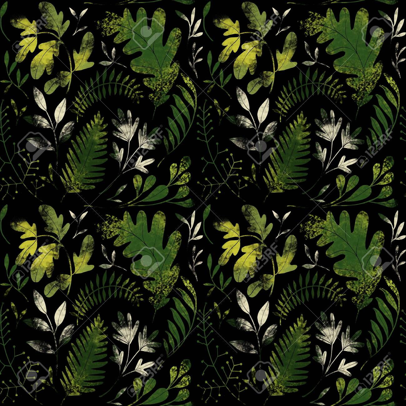 Green plants pattern. Leaves, brunshes and plants. Fullsize raster artwork - 132391894