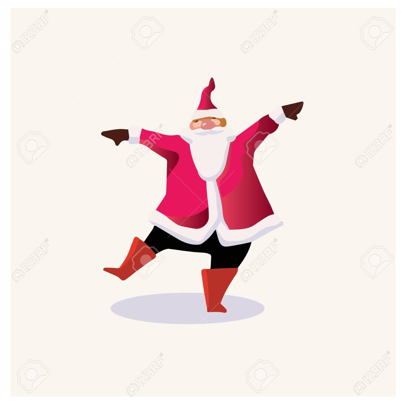 Set of cartoon Christmas illustrations. Funny happy Santa Claus character with gift, bag with presents, waving and greeting. For Christmas cards, banners, tags and labels. - 132391897