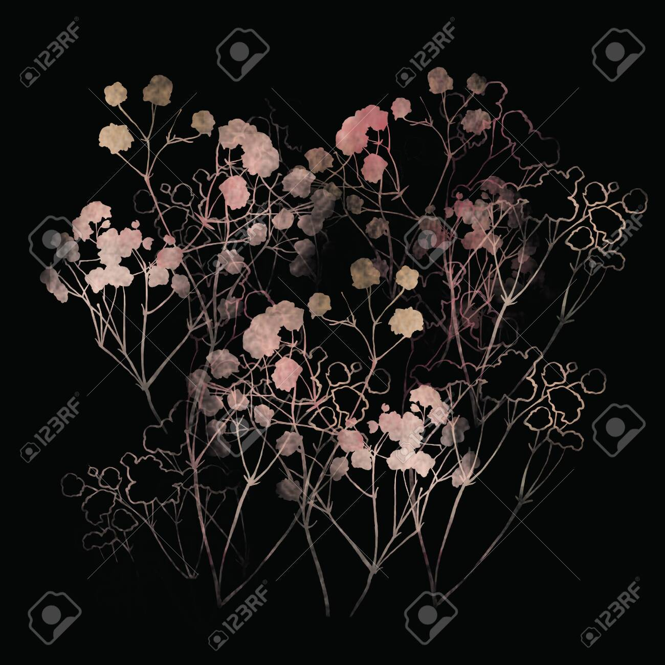 Floral pattern, pink small flowers brunshes. on white gray and black background. Hand drawn illustration, texture pattern. - 132731750