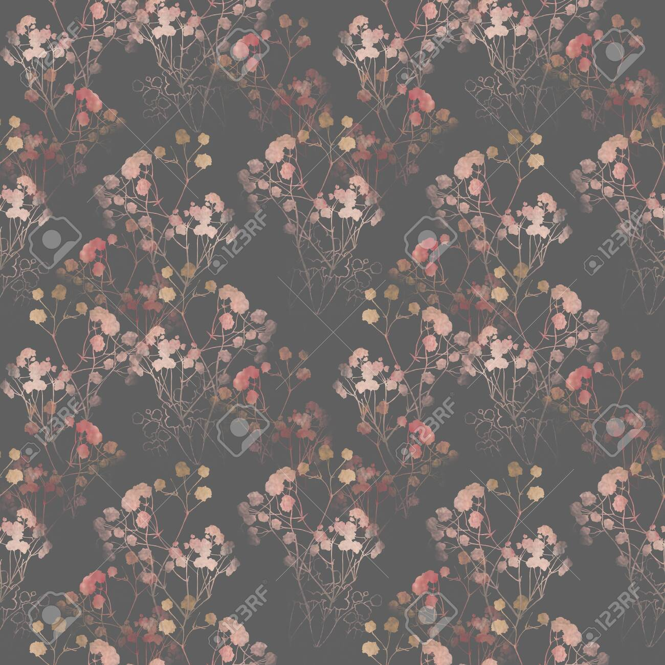 Floral pattern, pink small flowers brunshes. on white gray and black background. Hand drawn illustration, texture pattern. - 132720687