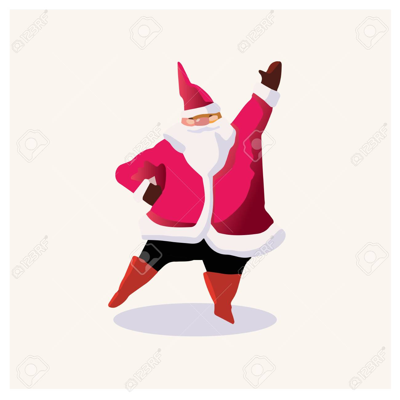 Set of cartoon Christmas illustrations. Funny happy Santa Claus character with gift, bag with presents, waving and greeting. For Christmas cards, banners, tags and labels. - 132718936