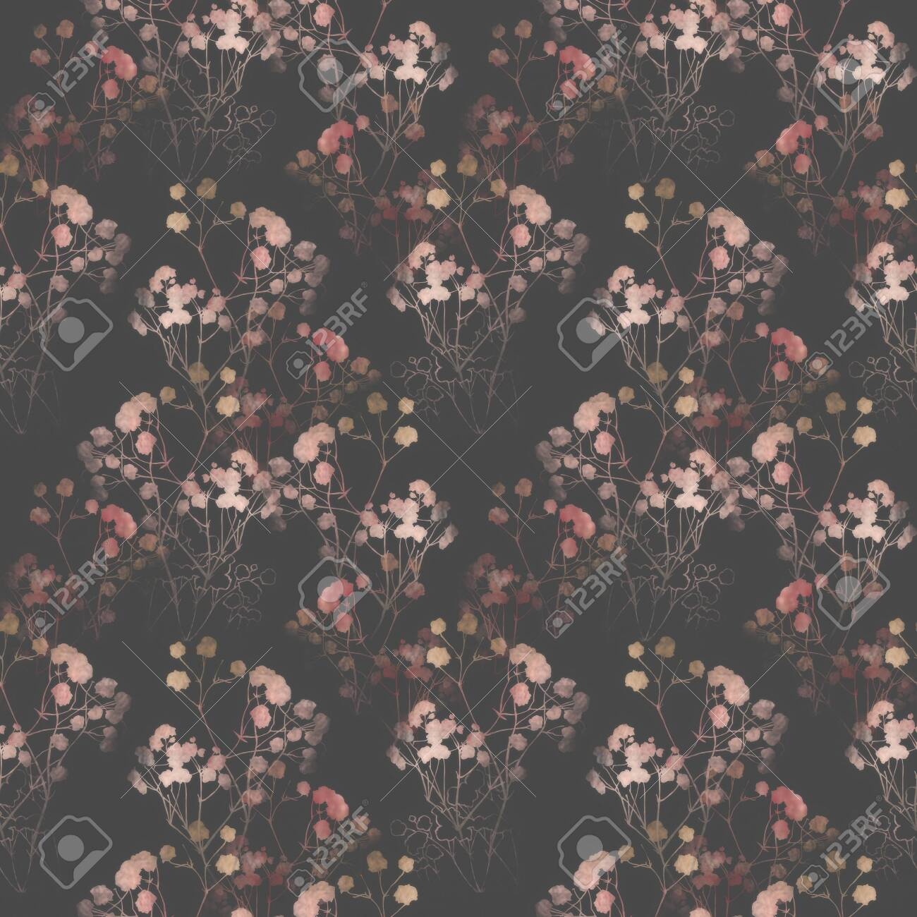 Floral pattern, pink small flowers brunshes. on white gray and black background. Hand drawn illustration, texture pattern. - 132732190
