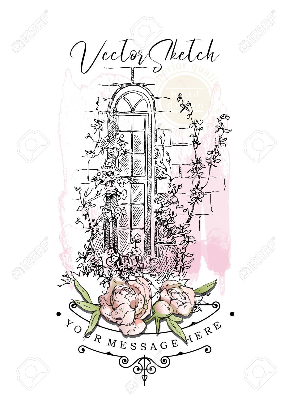 Hand drawing vector sketch of old street view. Shabby chic sharming drawings. Scrapbooking kit. European archtecture elements. Windows, doors, old stone walls. Rural landscape. Small town houses. Ink and pen isolated drawings. - 142220049