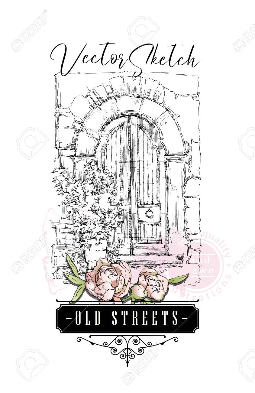 Hand drawing vector sketch of old street view. Shabby chic sharming drawings. Scrapbooking kit. European archtecture elements. Windows, doors, old stone walls. Rural landscape. Small town houses. Ink and pen isolated drawings. - 142220050