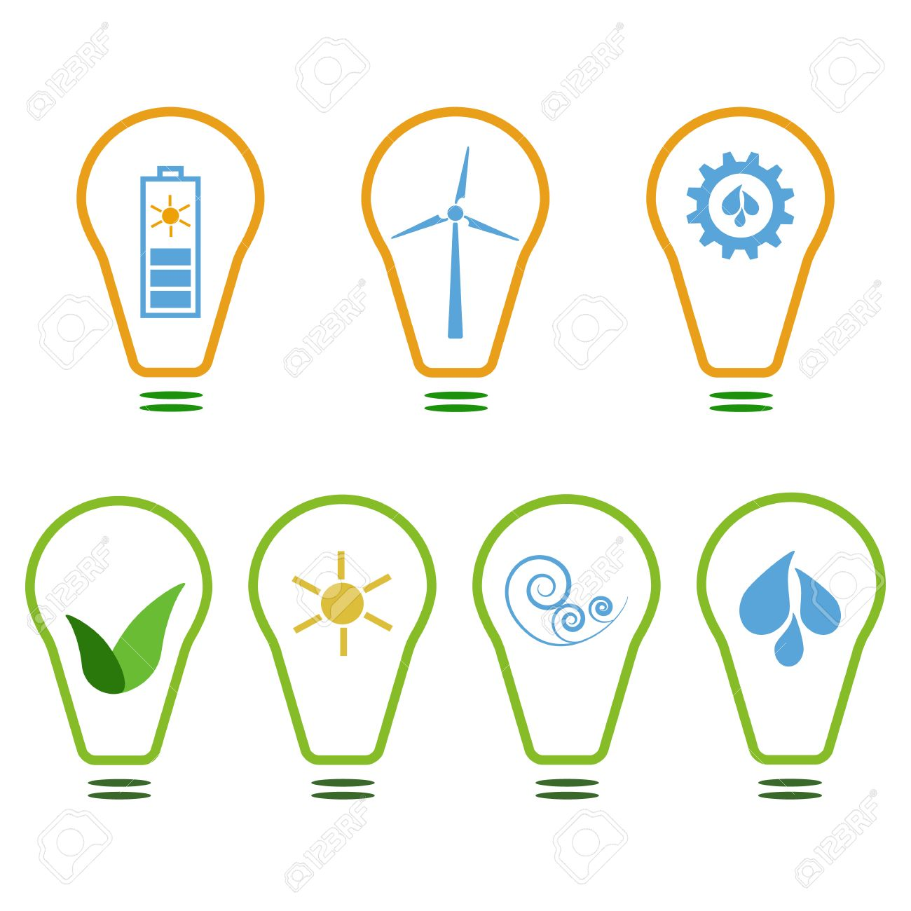 Set of symbols presenting eco friendly energy sources sun wind set of symbols presenting eco friendly energy sources sun wind and water stock buycottarizona