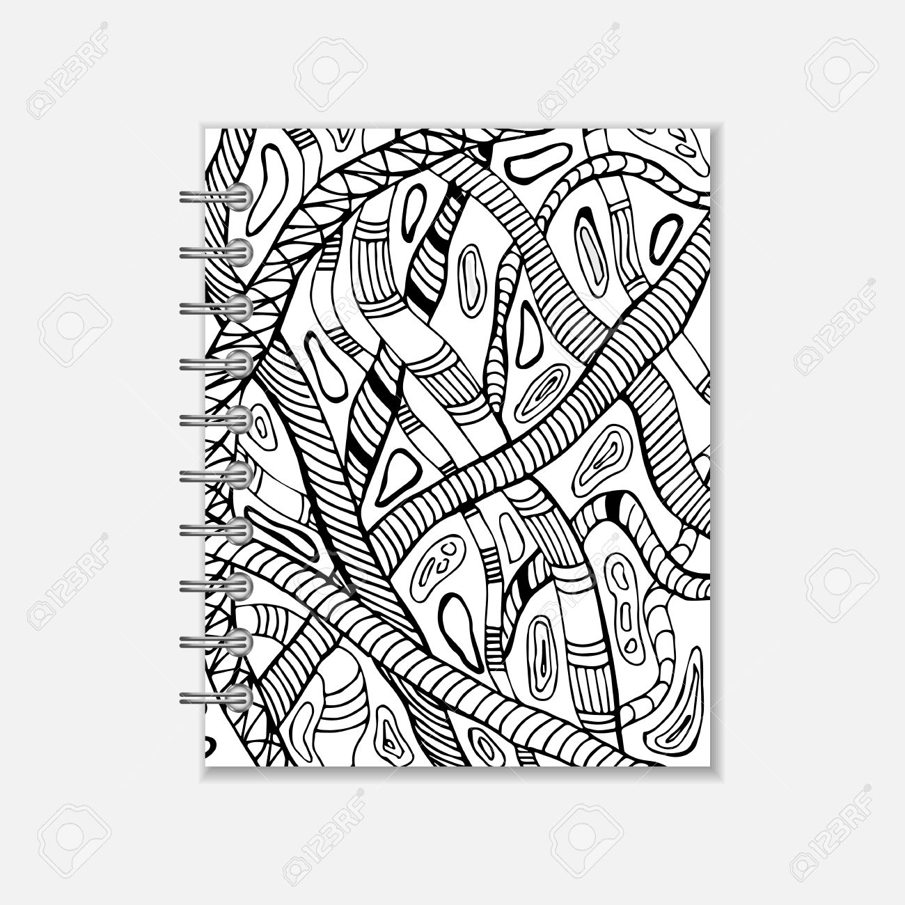Ring Bound Notebook Cover Design With Hand Drawn Snake Pattern