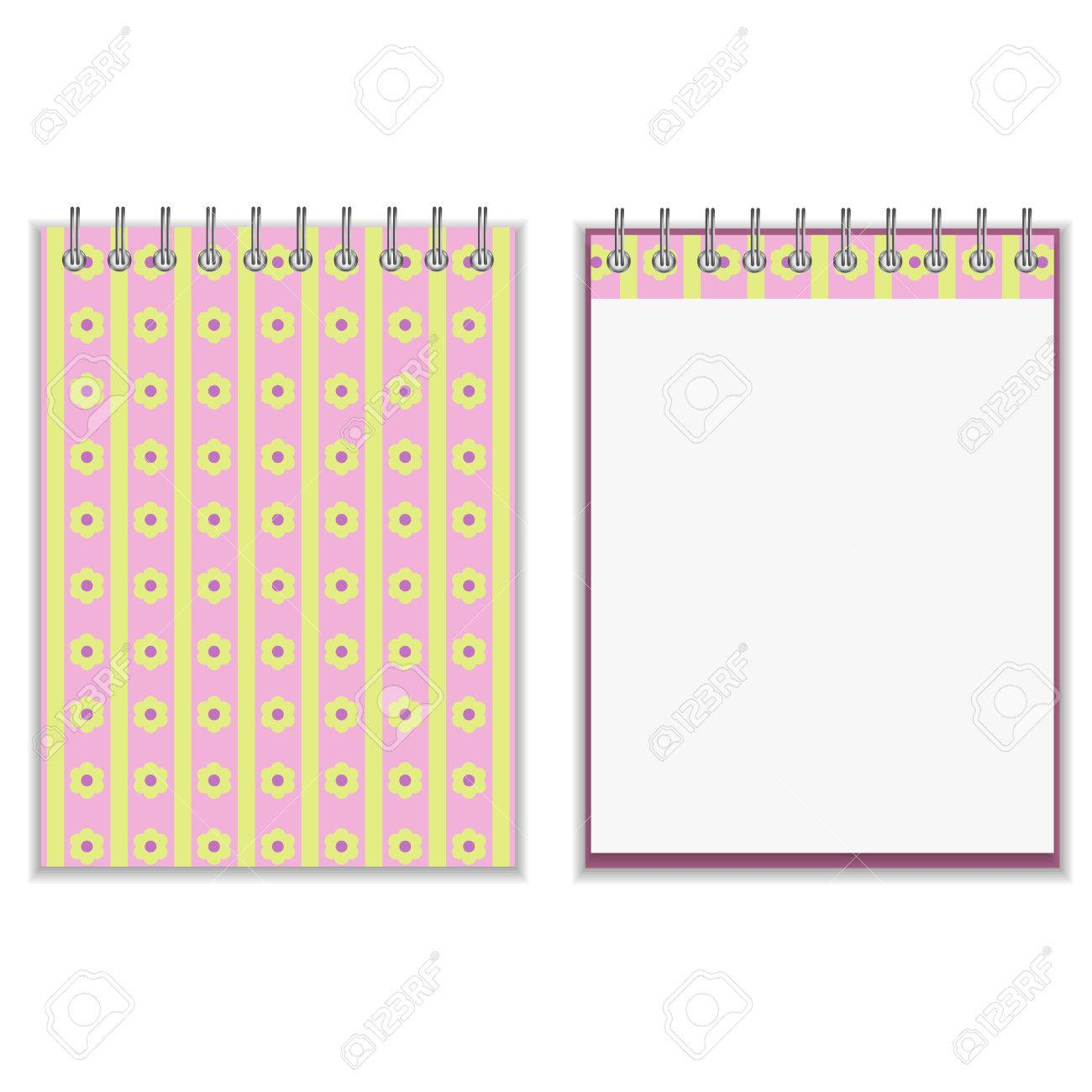 floral style pink and yellow notebook cover design same floral style pink and yellow notebook cover design same element on the page isolated