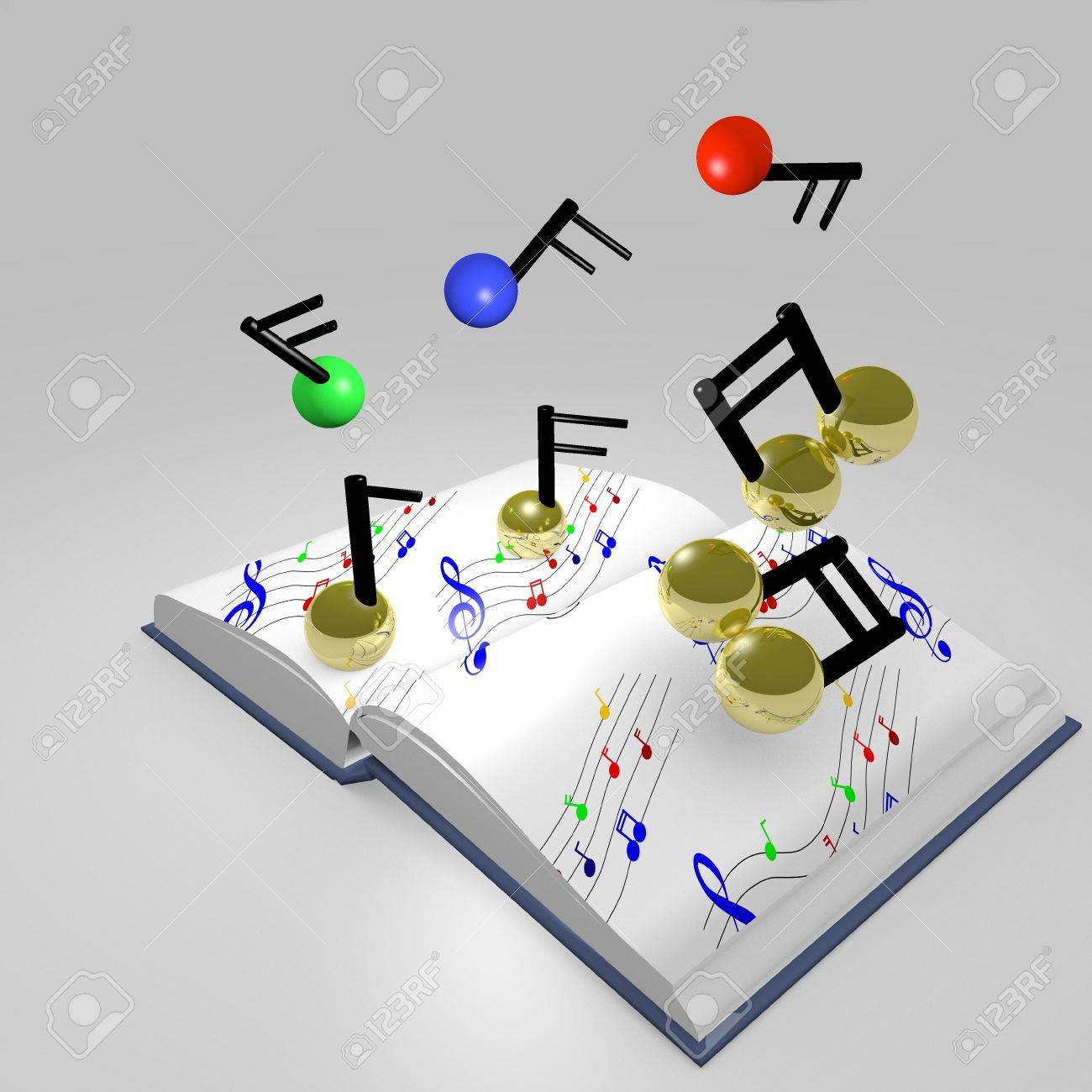 3D music with golden and coloured notes on white background Stock Photo - 12416353