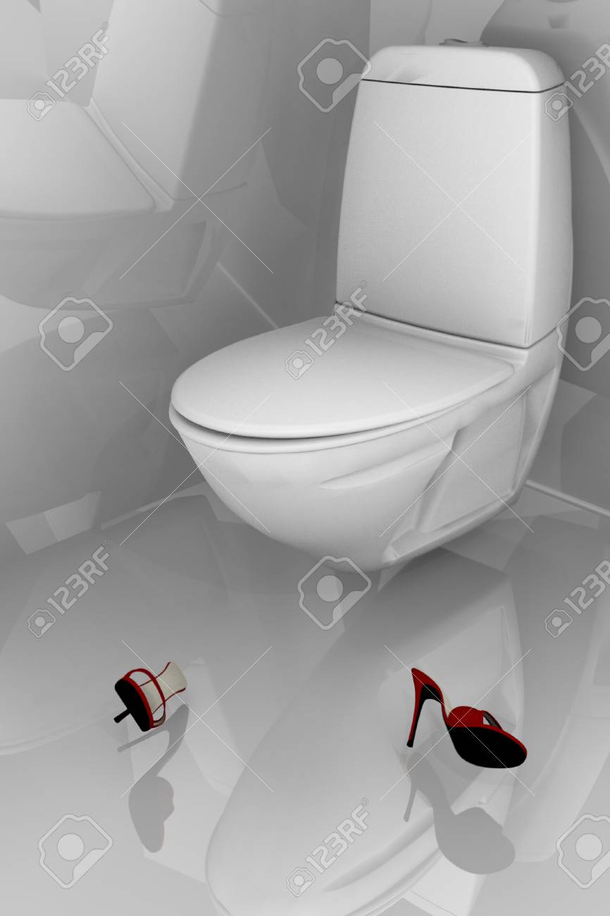 lavatory with red feminine shoes on pavement Stock Photo - 14169162
