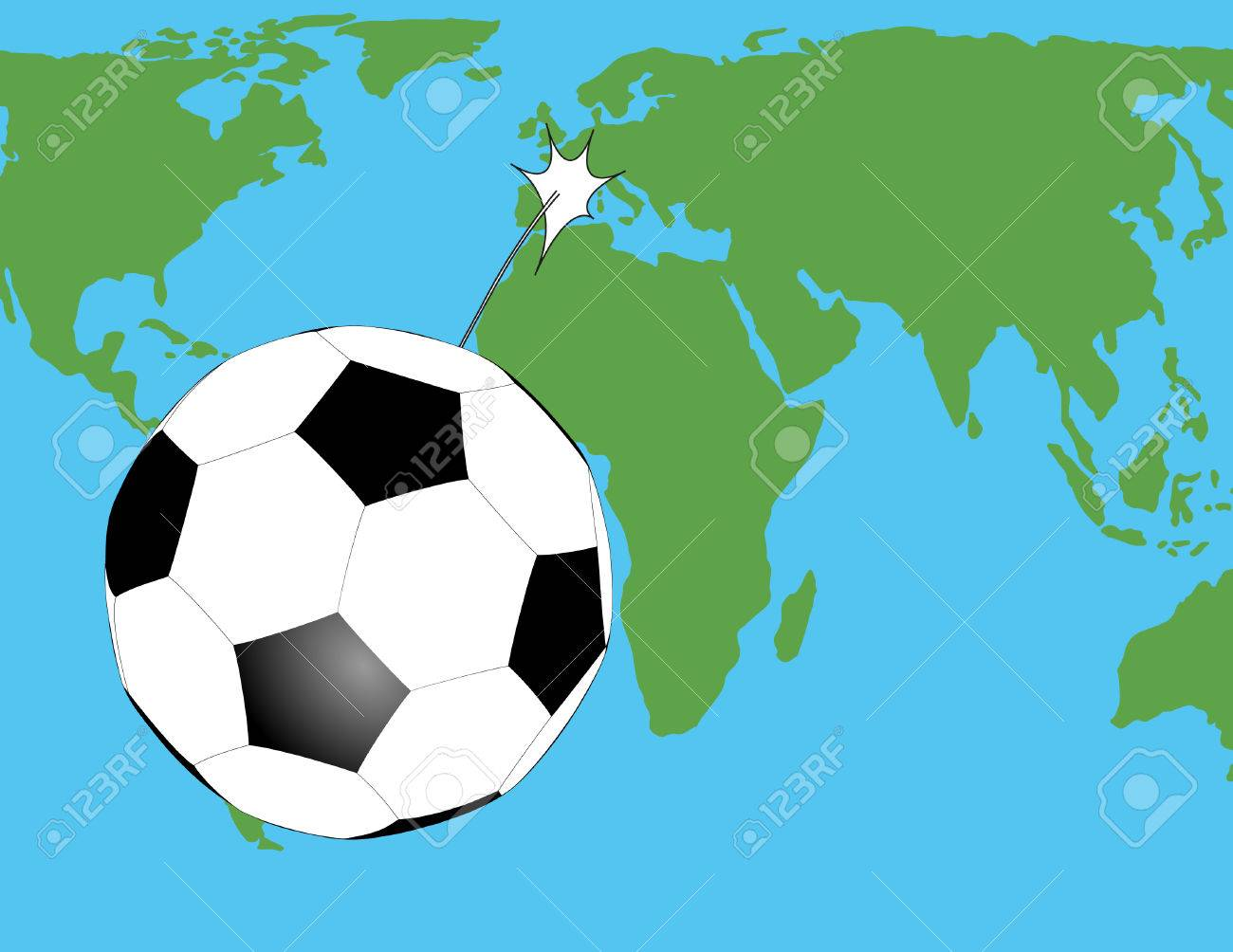 Soccer ball flying over the world map royalty free cliparts vectors soccer ball flying over the world map stock vector 54335387 gumiabroncs Gallery
