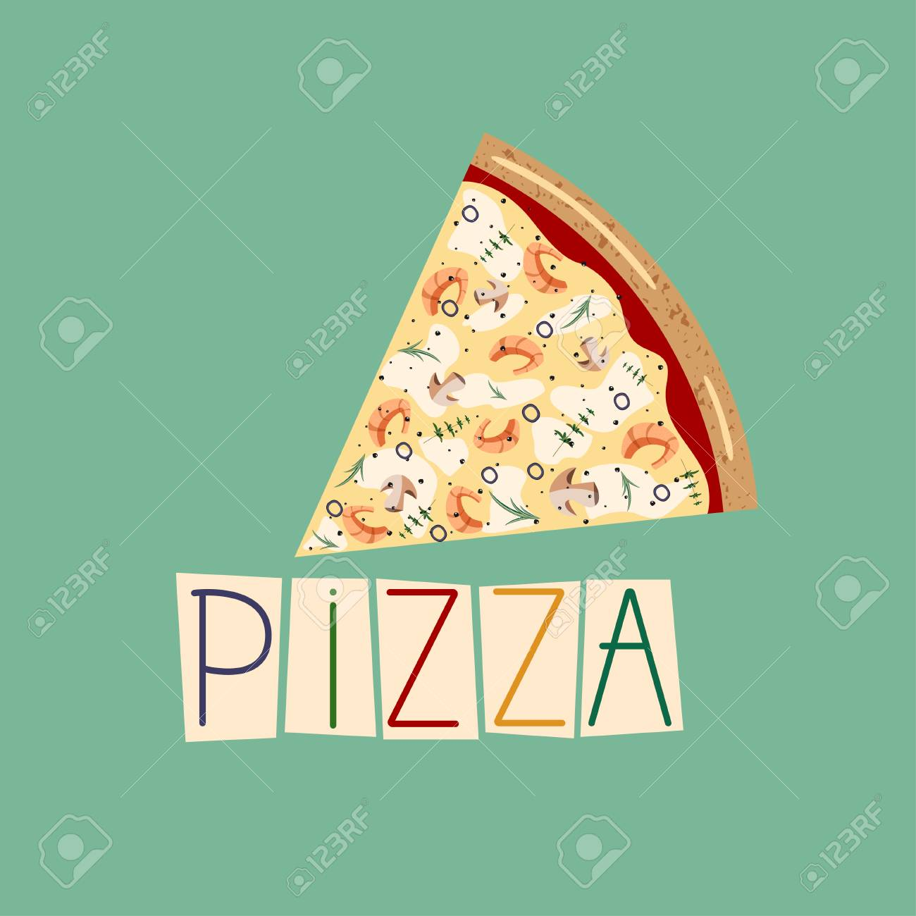 Banner For Pizza Box Background With Slice Seafood Pizza Vector