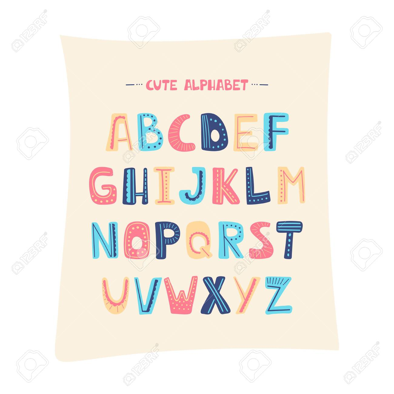 Vector cartoon alphabet for kids  Upper letters with dotted line