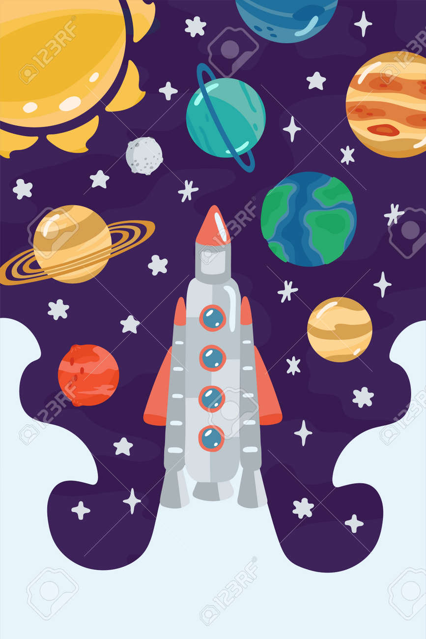 Space children's poster with rocket, planets in cartoon style. Cute concept for kids print. Illustration for design kids room postcard, textiles, apparel. Vector - 153607302