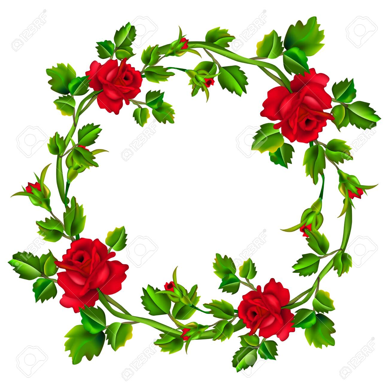 Flower frame isolated on white background. Red rose wreath. Roses with leaves in circle with place for the text or image. Mesh. - 130021095