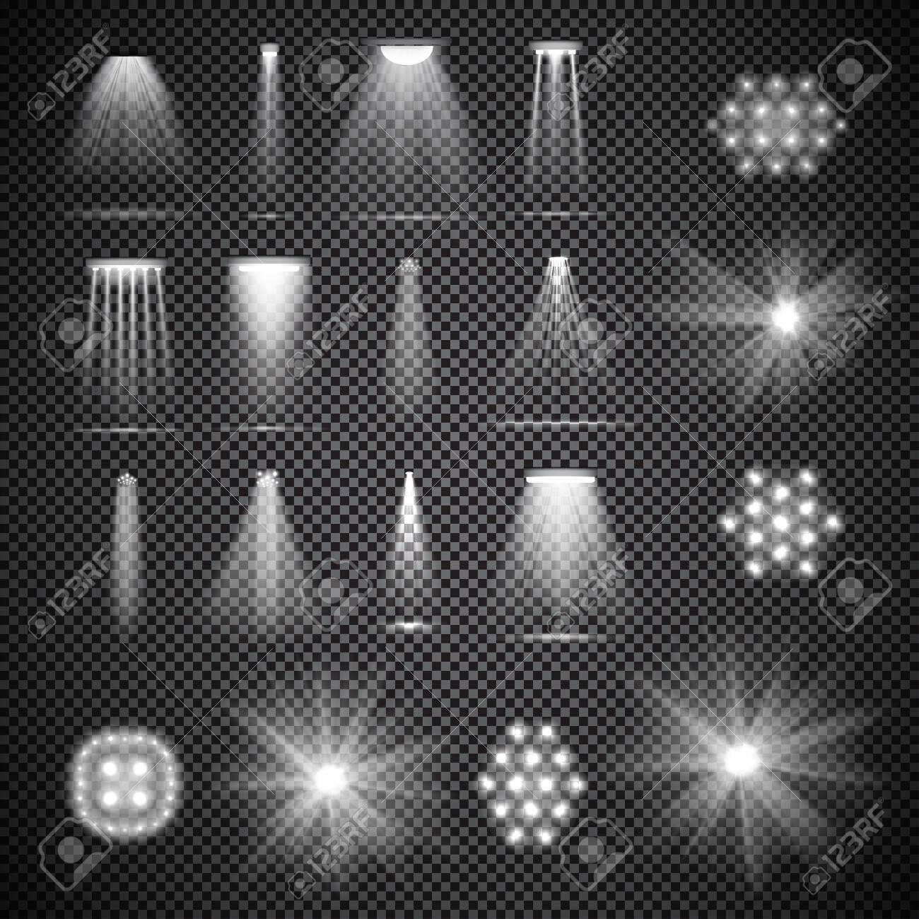 Set of half transparent stage spotlights with smoke. Various stage lights. Vector illustration for your graphic design. - 130021682