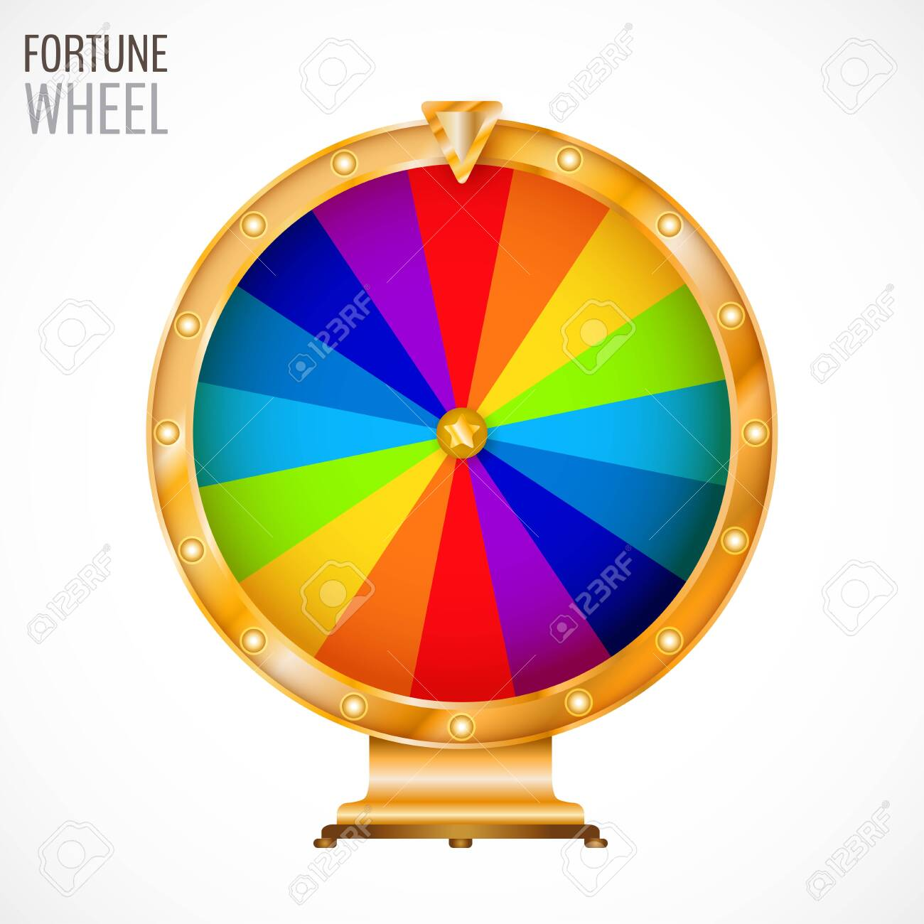 Colorful and bright vector wheel of fortune with figures isolated on white background. Vector illustration for your graphic design. - 130022325