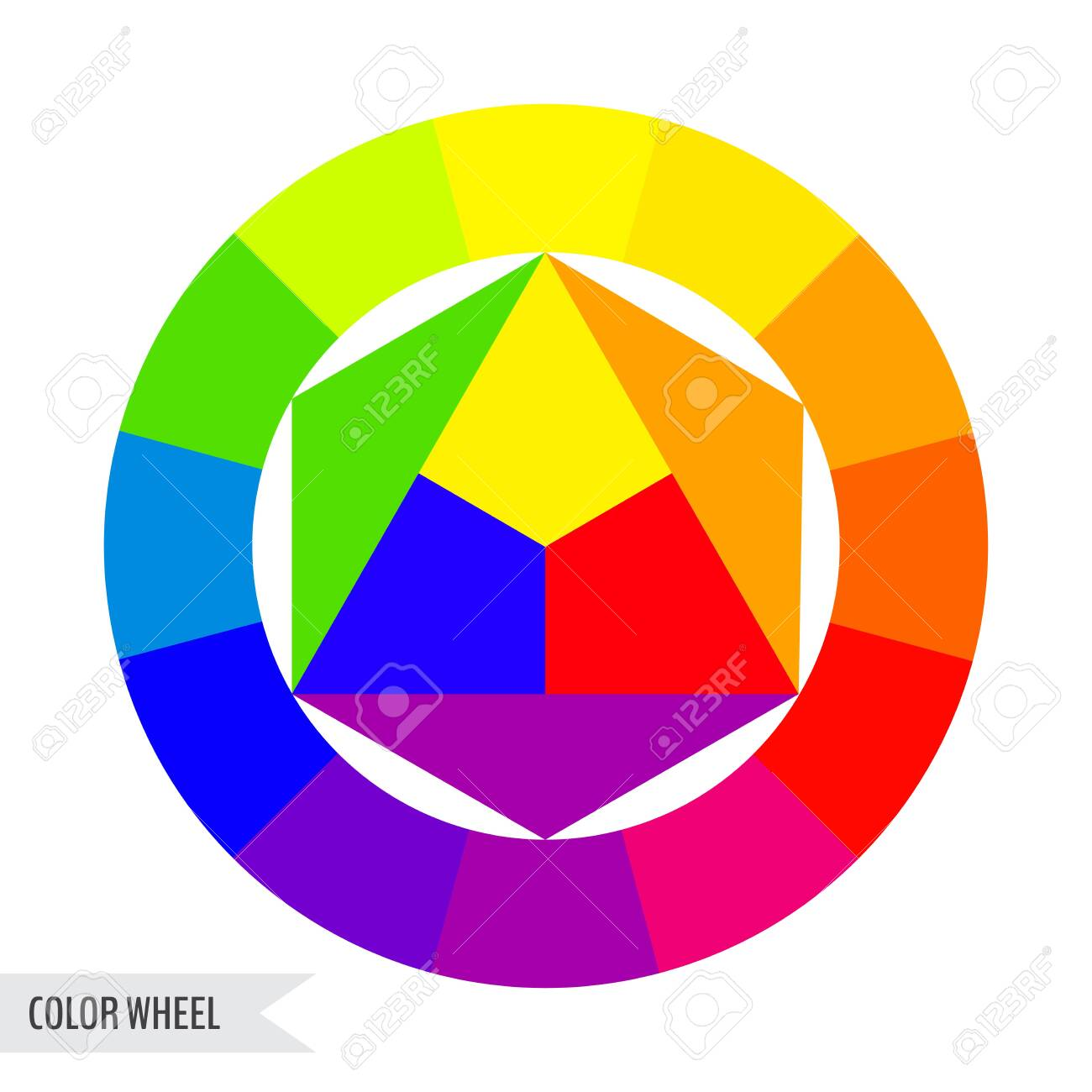Bright color wheel chart isolated on white background. Vector illustration for your graphic design. - 130022516