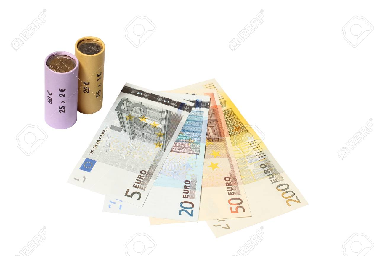 Two Packed Coin Rolls With Bank Notes Stock Photo Picture And