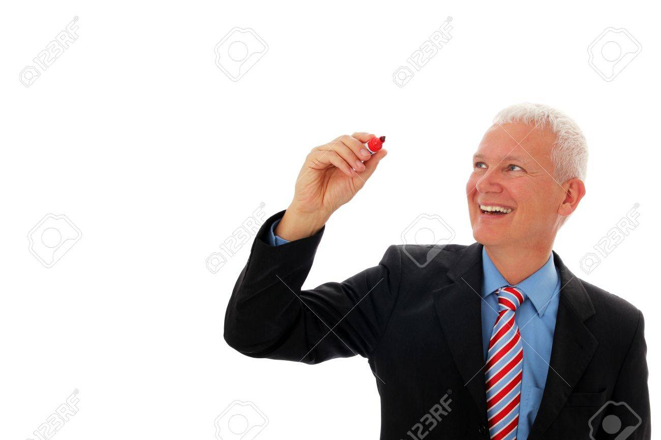 Businessman writing in air with red pen Stock Photo - 12867502