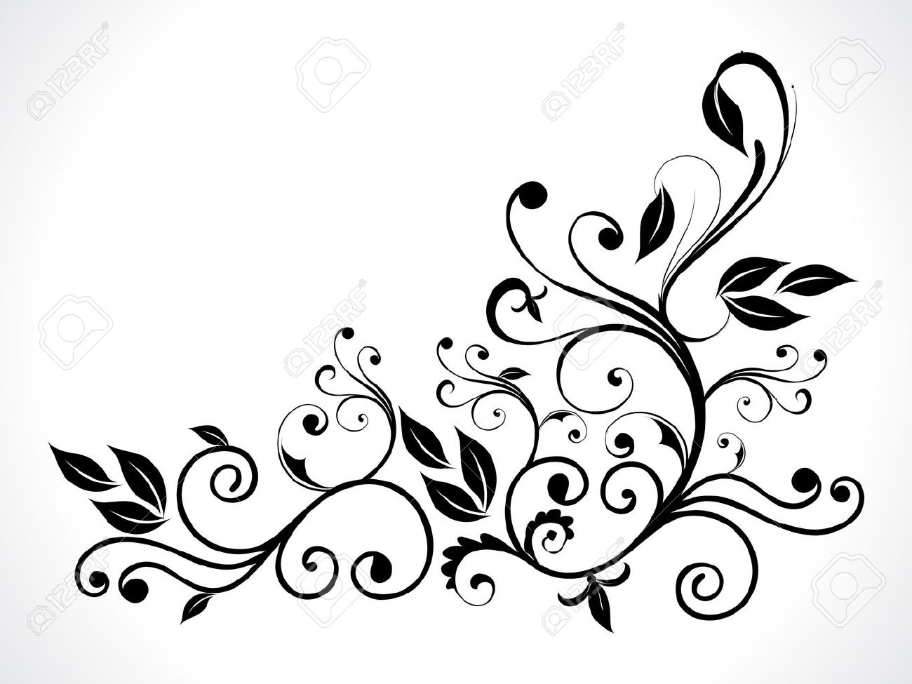 abstract black floral vector illustration Stock Vector - 10276266