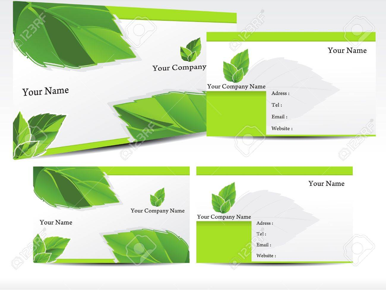 Abstract Green Leaf Business Card Vector Illustration Royalty Free ...