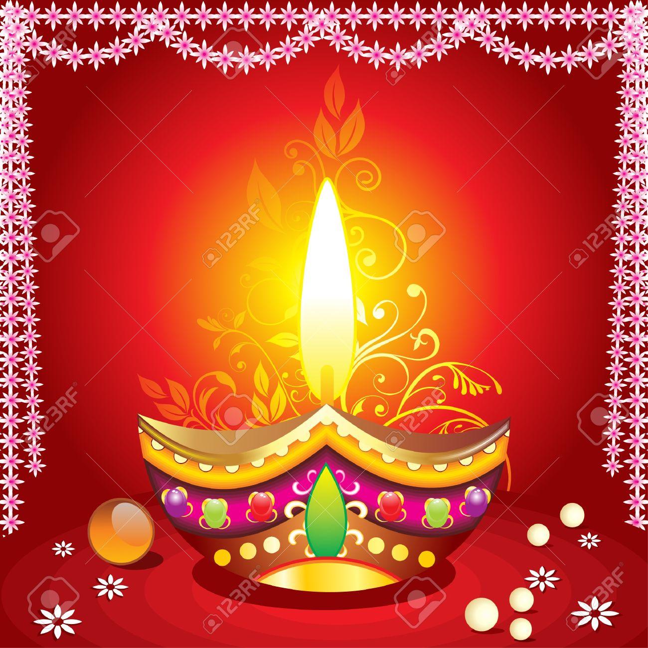absrtract diwali background with deepak illustration Stock Vector - 10536819
