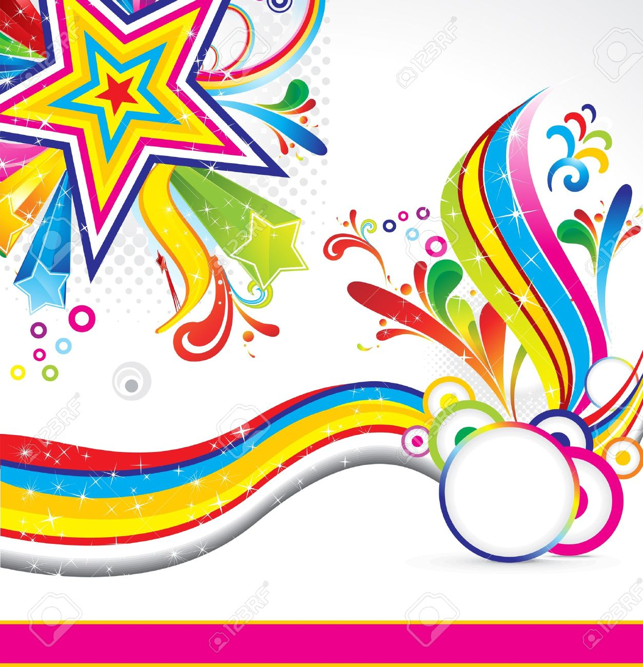 abstract colorful star backgorund with wave vector illustration Stock Vector - 10998660